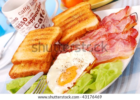 bacon and eggs for english breakfast