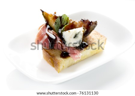 bacon, canapes, snacks, eggplant, cheese, sauce, restaurant, gourmet,