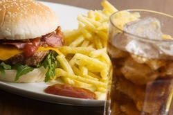 bacon cheeseburger with fries and coke