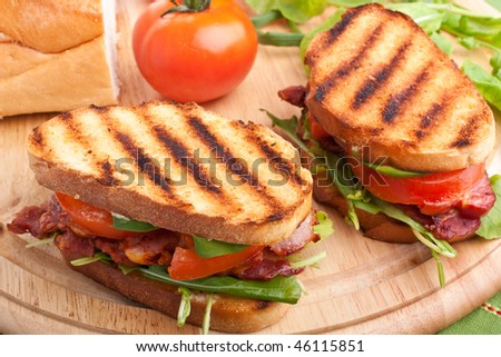 Bacon, lettuce and tomato BLT sandwiches