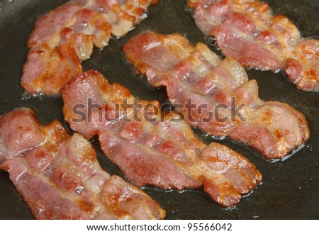 Bacon rashers frying in non-stick pan