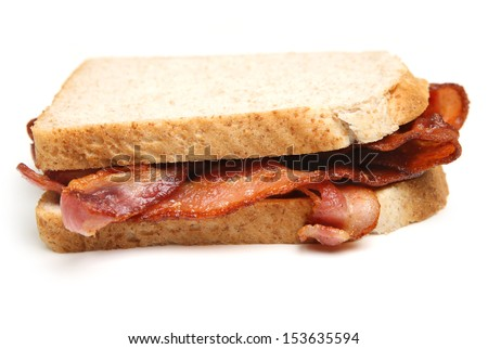 Bacon sandwich with sliced bread.