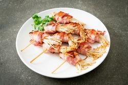 Bacon Wrapped Golden Needle Mushroom Skewers