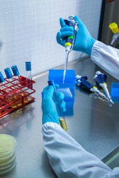 Bacteriological and virus analysis laboratory, tools for chemical analysis