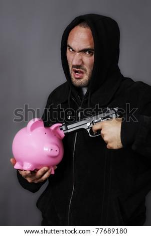 bad boy with pink piggy bang and gun