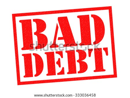 BAD DEBT red Rubber Stamp over a white background.