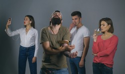 Bad habits or addiction. People suffering from alcohol and cocaine or tobacco addiction to behavior like selfie addiction. Group of men and women addicted to substance use and behavioral addiction.