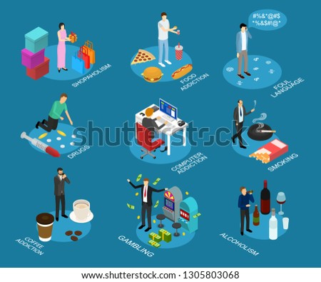 Bad Habits Sign 3d Icon Set Isometric View Include of Drug, Food Addiction, Alcohol and Shopping. illustration of Icons