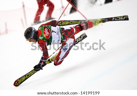 Bad Kleinkirchheim Carinthia Finland skier Kalle Palander crashes out of the mens slalom race part of the Audi FIS Alpine skiing world cup