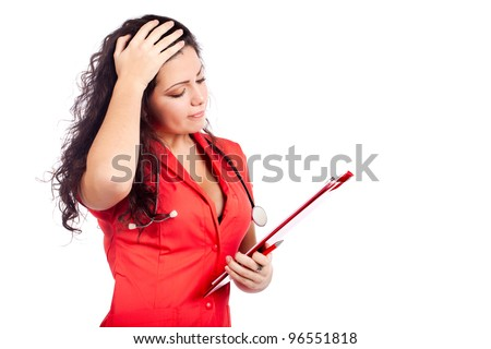 Bad news for a  professional young nurse or medical woman  doctor with big breasts, wearing tangerine tango orange uniform dress ,with clipboard. Isolated on white background with text space.