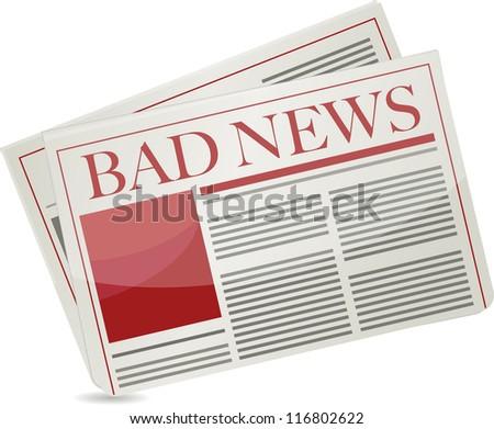 bad news newspaper illustration design over white background