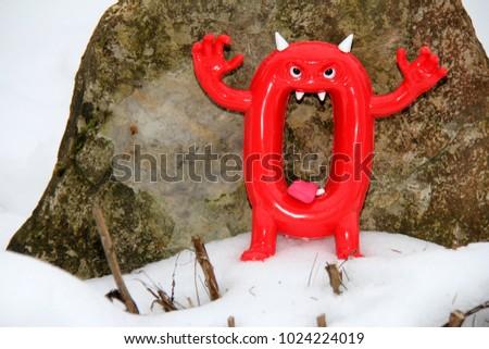 bad red zero on snow Stok fotoğraf ©