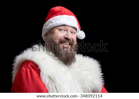 Bad Santa with insolent eyes, looking with a sneer #348092114