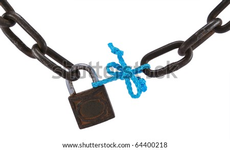 Bad security concept, with old metal chain, padlock and blue rope, isolated on white.