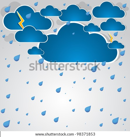 Bad weather background. sky with clouds and lightnings. Illustration - stock photo