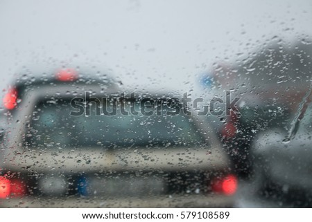 Bad Weather Driving on a Highway - Traffic Jam #579108589