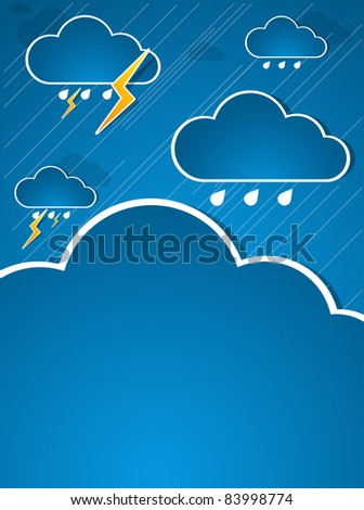 Bad weather. Sky with clouds and lightnings. Illustration