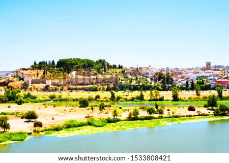 Badajoz, Spain. Aerial view of the old town of Badajoz, Spain with Alcazaba of Badajoz during the sunny hot summer day