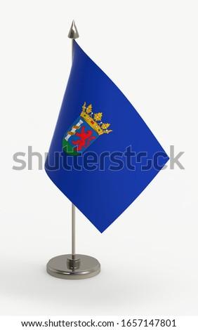 Badajoz table flag on a white background. Badajoz, province of Spain, 3d render.