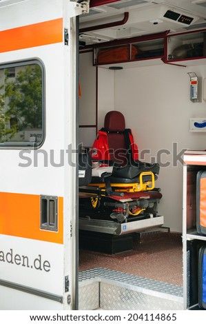 BADEN, GERMANY - May 3, 2012: Interior of an empty emergency german ambulance Emergency Medical Service German Red Cross 112. This service is financed by the German health insurance companies.