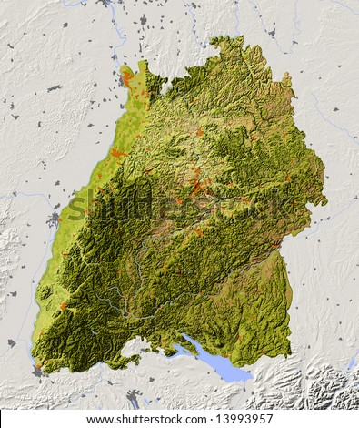 Baden Wuerttemberg Germany Shaded Relief Map Of The Federal State