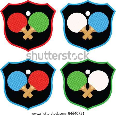 Badge emblems featuring ping pong equipment in a variety of colors.