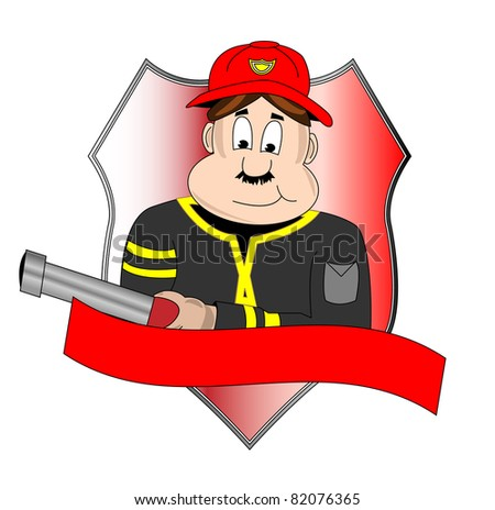 Badge of fire department with fire man