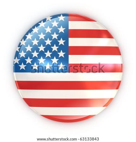 badge - US flag - stock photo