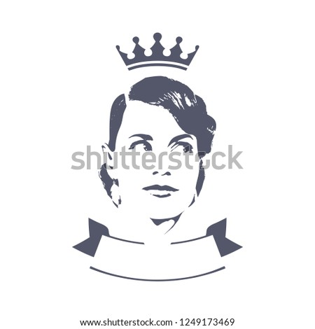 Badge with tape and female portrait. Beautiful queen in the crown with styling in retro style. Illustration for cosmetic and beauty products design.