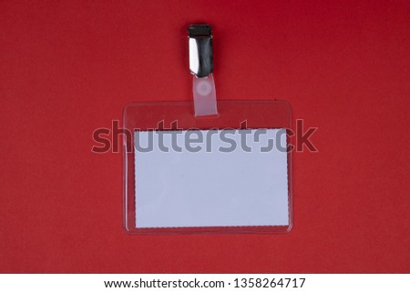 Badges Name badges for attaching on a red background #1358264717