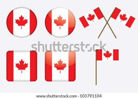 badges with Canadian flag illustration