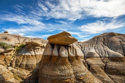 Badlands Alberta Canada, Panoramic view, showing erosion layers on the earth, summertime