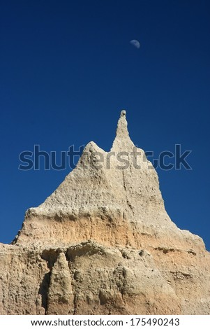 Badlands and moon
