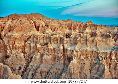 Badlands Erosion - HDR Photography. Badlands Scenic, South Dakota, USA. U.S. National Parks Photo Collection.