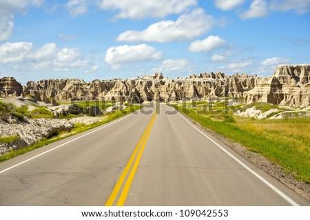 Badlands Highway - Badlands Loop Road. South Dakota, USA. Scenis Road in the Badlands National Park.
