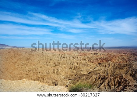 Badlands In The Anza Borrego Desert ~ Fonts Point In The United States Is Noted For Its Erosional Landscapes