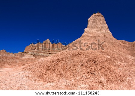 Badlands National Park of South Dakota is a rugged landscape of eroded rock