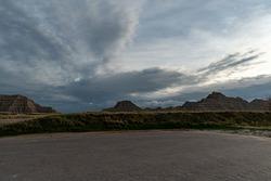 Badlands National Park on a Spring Day Around Dusk