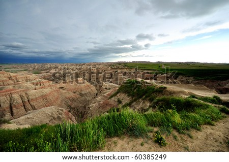 Badlands on cloudy day