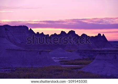 Badlands Sandstones Sunset. Badlands Formation During Sunset. South Dakota, U.S.A. Nature Photo Collection