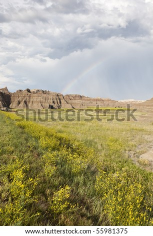 Badlands Wilderness with rainbow, Badlands National Park, South Dakota, United States