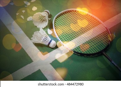stock photo of Badminton court with a shuttlecocks and Racket  at the corner