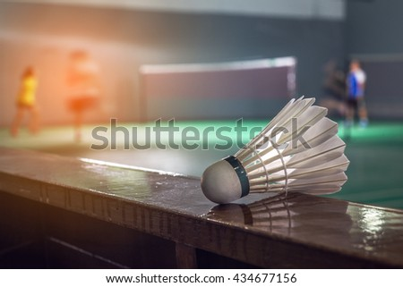 Badminton courts with players competing ,shallow depth of field #434677156