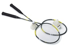 Badminton rackets and shuttlecocks isolated on white
