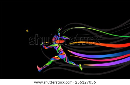 Badminton sport invitation poster or flyer background with empty space, banner template. Abstract colorful badminton player on black background