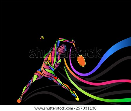 Badminton sport invitation poster or flyer background with empty space, banner template. Abstract colorful badminton player consists of curves on black background