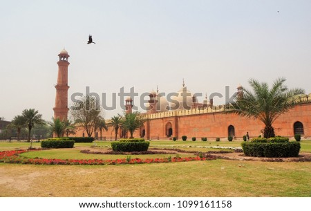Badshahi masjid which the mosque's prayer hall located in Punjab of Lahore Pakistan. The mosque is located west of Lahore Fort along the outskirts of the Walled City of Lahore.Pakistan's iconic sight.