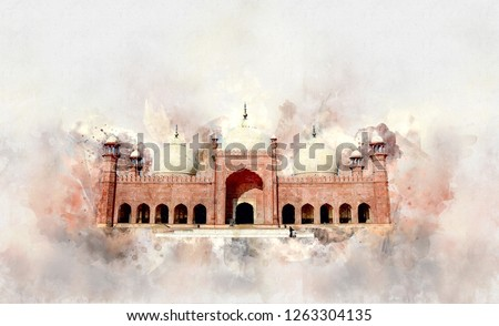 Badshahi Mosque Watercolor Sketch - Illustration Badshahi Mosque, Lahore-Pakistan - Image