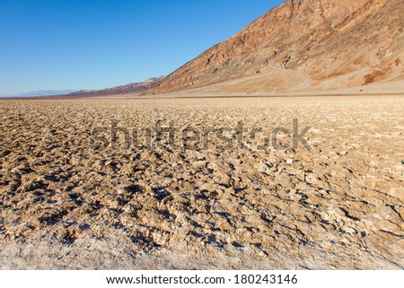 Badwater Basin, Death Valley, California; the USA's point of lowest elevation - stock photo