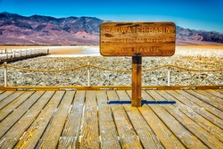 badwater basin sign in death valey national park, California